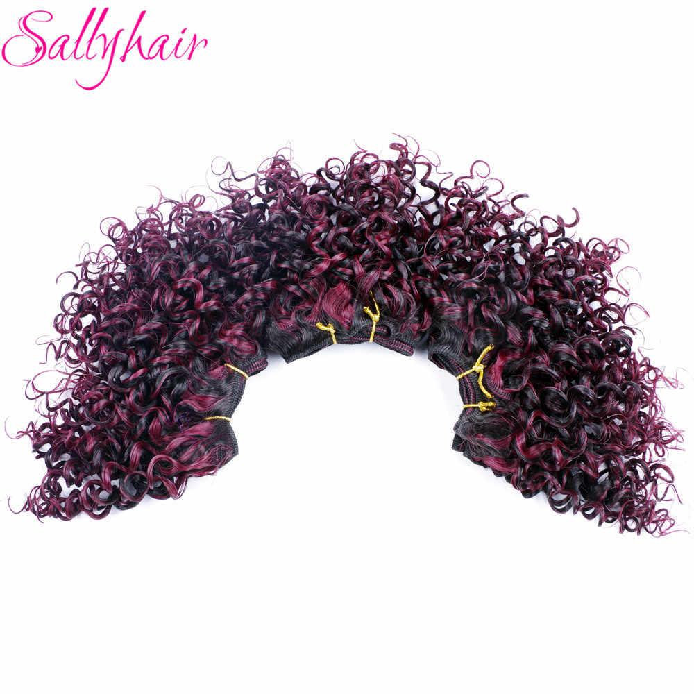 Sallyhair Омбре цвет афро Вьющееся кружево волосы переплетения смешанные Черные бордовые синтетические волосы для наращивания 3 шт./лот волосы Weavings