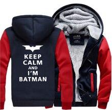 Super Hero Keep Calm I Am Batman Fashion Hoodies 2019 Winter Warm Fleece High Quality Casual Sweatshirt Men Hip Hop Thick Hoodie