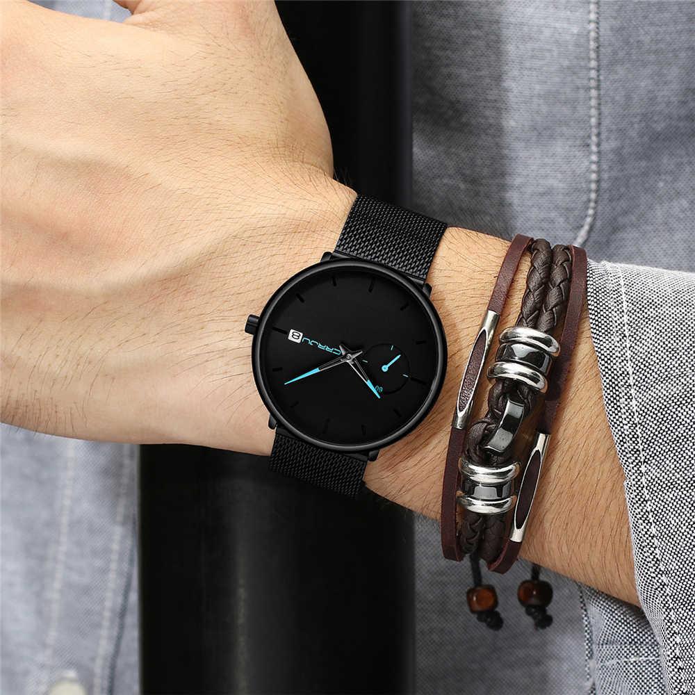 Crrju 2019 Mens שעונים למעלה מותג יוקרה ספורט עמיד למים איש שעון אולטרה דק חיוג קוורץ שחור זכר שעון Relogio Masculino