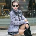 2015 de invierno nuevo párrafo corto Delgado cuello de encaje párrafo corto Sra. de algodón acolchada chaqueta de las mujeres vestido barato ropa de china