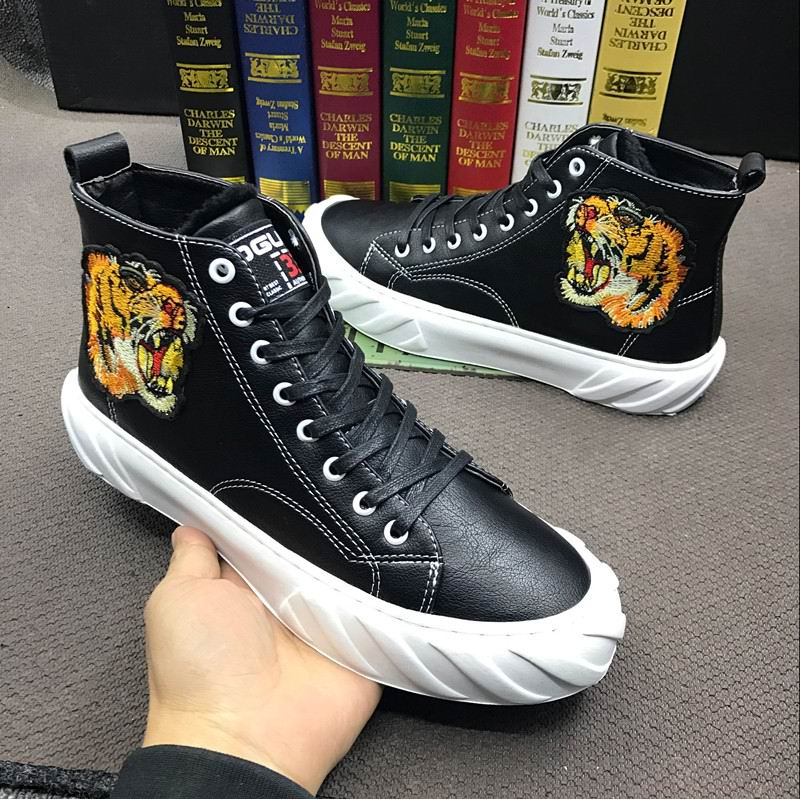 ERRFC Luxury Men Casual Shoes High Top White Platform Man Trending Leisure Shoes Tiger Embroidered Vogue