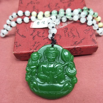 Wholesale price natural Hetian original stone carved green lotus Guanyin pendant three color beads necklace to send certificate