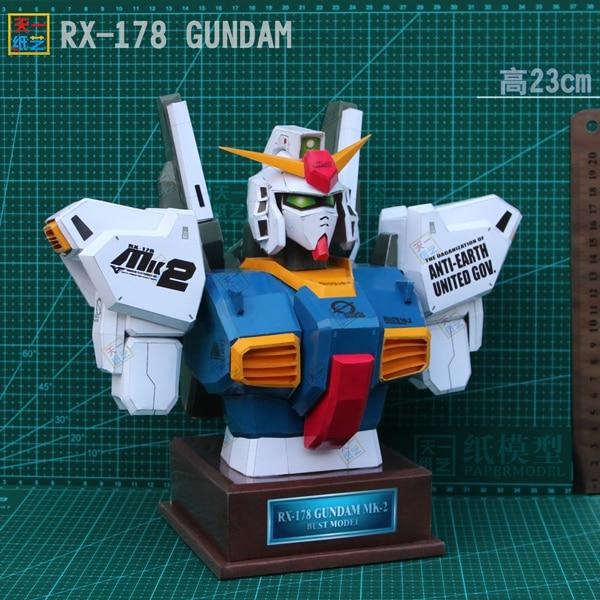 RX178 GUNDAM Bust Puzzle Paper Model DIY Gift Handmade Paper Art Popular Toys