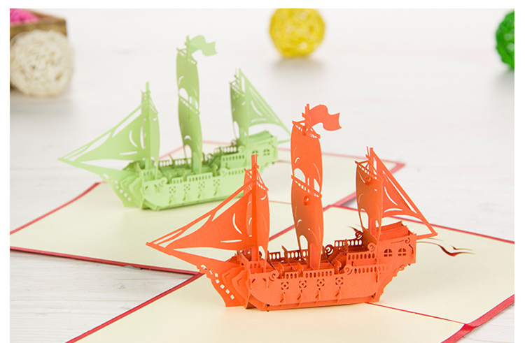 15x15cm 3D Sailing Ship Greeting Cards 5.9 Foldable Card For Christmas New Year Festival School Ceremony Promotion Advertising