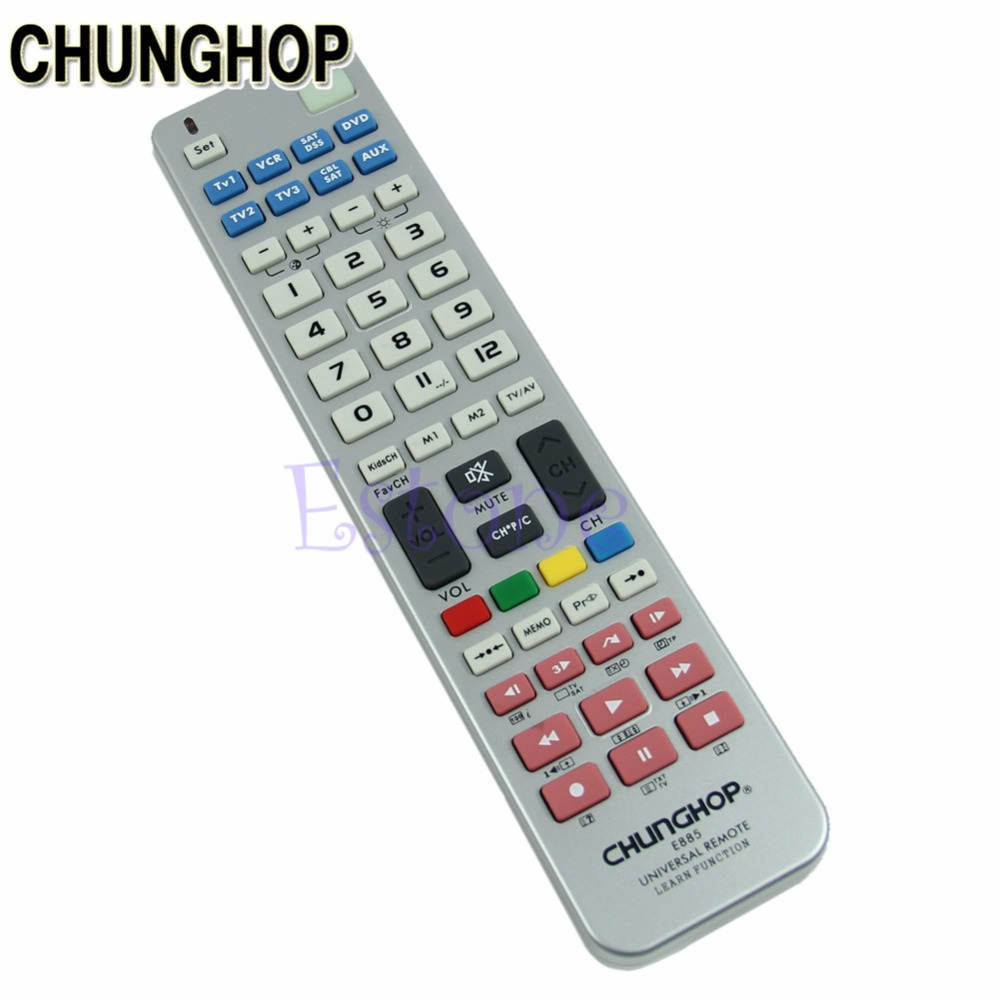 CHUNGHOP TV Remote Control Universal 8 in 1 Remote Control Controller Learn Function For TV CBL VCR SAT DVD 1pcs chunghop rm l987e tv sat dvd cbl cd ac vcr smart tv 3d universal remote control learning equipment with lcd display