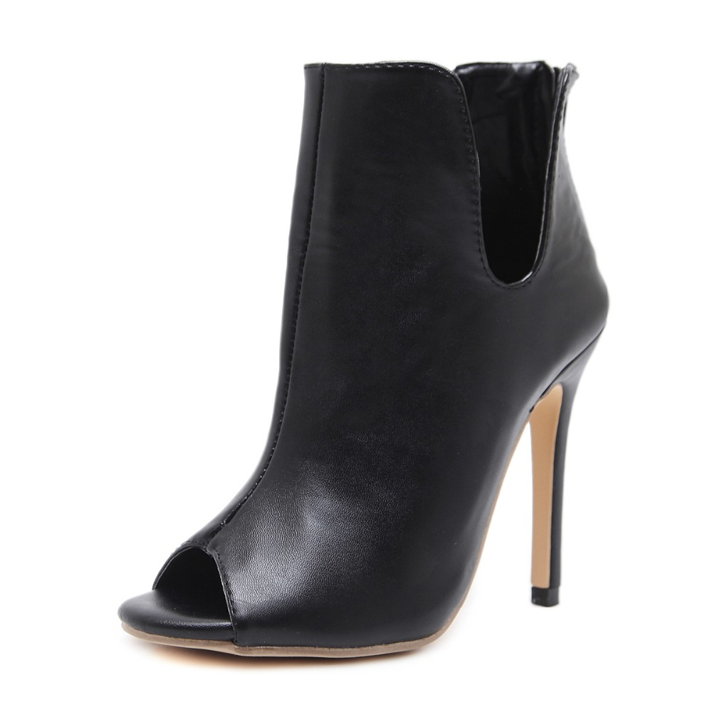 New Design Women Chelsea Boots Black Open Toe High Heels Shoes Spring Autumn Woman Ankle Boots Size 35 - 40 AB26