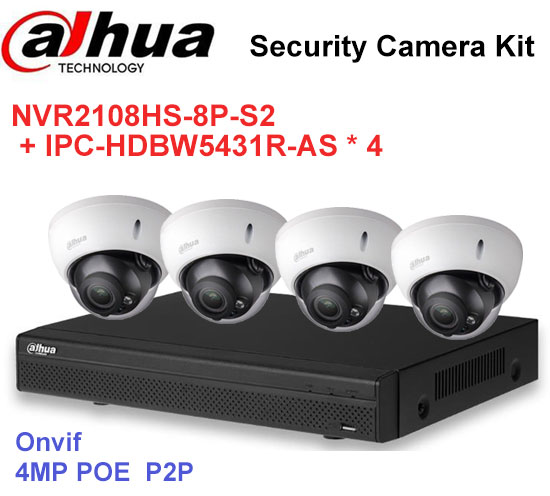 Dahua DH208RS Security CCTV Camera Kit With NVR2108HS-8P-S2 IP Camera IPC-HDBW5431R-AS P ...