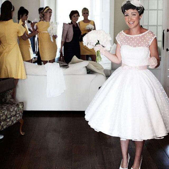 Vintage 1950s Retro Short Wedding Dresses Tea Length Scoop Neck Cap ...