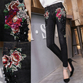 Europe  spring of 2017 heavy European goods fashion sequins embroidery flower  slim denim trousers female pencil jeans