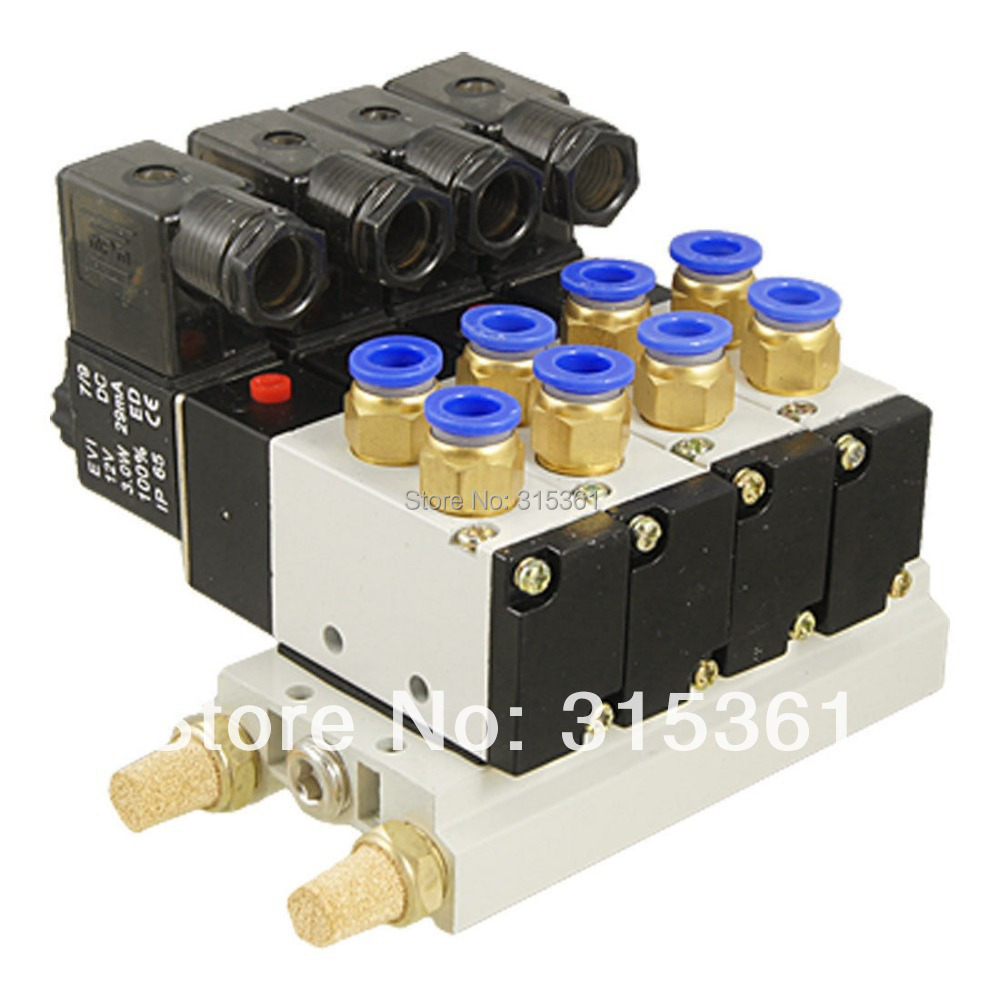 Free Shipping 10Sets/Lot DC 12V or DC24V 1/4 Thread Quick Fitting 2 Position 5 Way 4 Base Solenoid Valve w Base Muffler 4V210 free shipping 10sets lot pneumatic ac 220v quadruple solenoid valve w base push in connectors silencers 5 stations