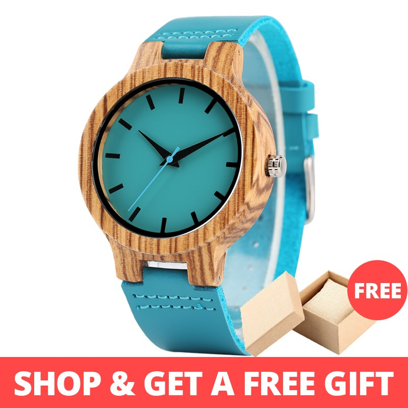 Lovers' Watches Women Wooden Men Watch Unique Timepieces in Gift Box Turquoise Blue Leather Valentine's Day Gifts Drop Shipping
