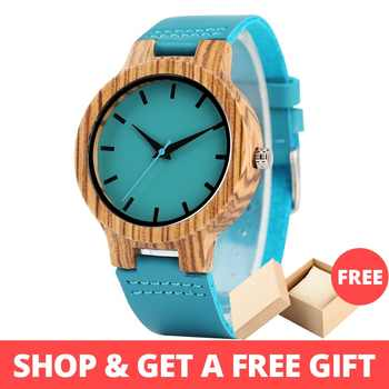 Lovers' Watches Women Wooden Men Watch Unique Timepieces in Gift Box Turquoise Blue Leather Valentine's Day Gifts Drop Shipping - DISCOUNT ITEM  41% OFF All Category
