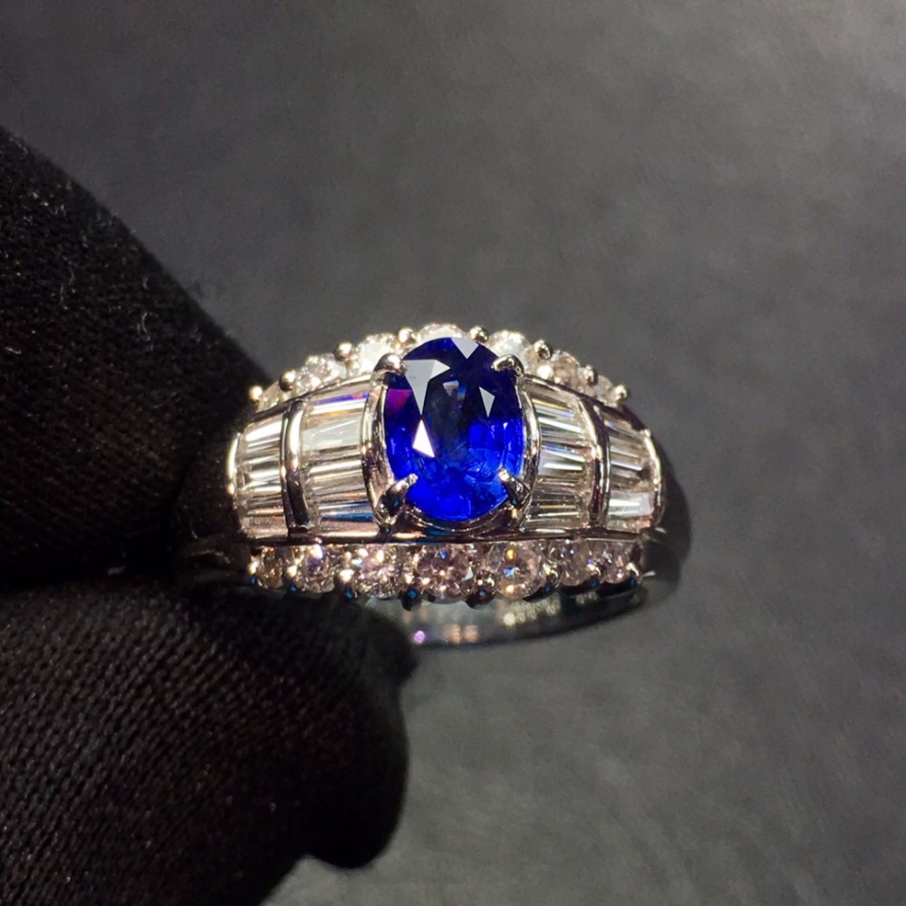 Stone Male's-Ring Pt900 Real-Platinum Fine-Jewelry Diamonds Blue Sapphire 100%Natural-0.88ct