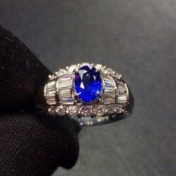 Ювелирные изделия, настоящая Платина Pt900 100% натуральный 0,88ct синий драгоценные камни-сапфиры, бриллианты, камень, мужское кольцо, кольца для ...