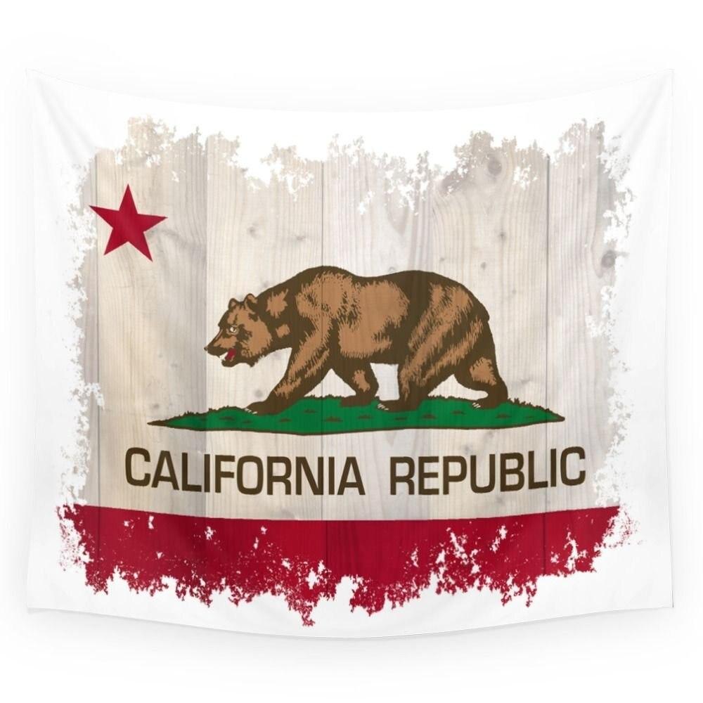 Fashion California Republic Flag On Woodgrain Printed Wall Hanging Tapestry Room Decoration Bohemian Home Decor Beach Towel(China)