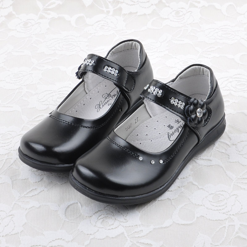 627e0afd8 2015 New Children Black Gnuine Leather Shoes Flower Girl Shoes Flat Heel Shoes  Kids Girls Shoes