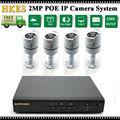 4CH 1080P network security cctv 2mp outdoor waterproof IP camera NVR System H.264 POE NVR Kit Video Surveillance set