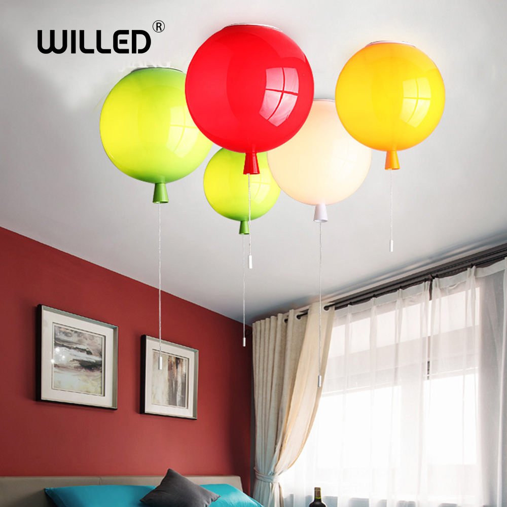 Balloon Pendant Light Children Room Lamp Dia 25cm 6 Colors Acrylic Fixture Home Deco Bedroom E27 Energy-saving Lamps Dropship