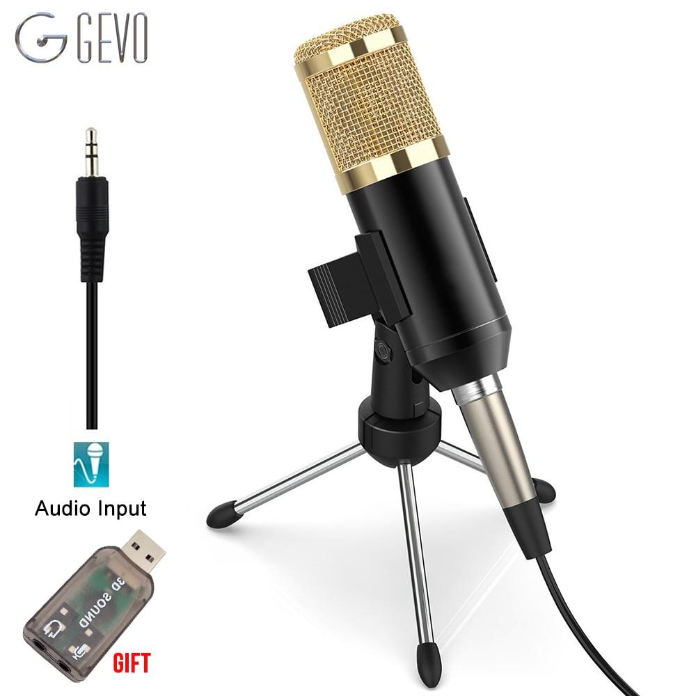 GEVO bm 800 microphone pour ordinateur professionnel 3.5mm filaire studio micro à condensateur avec trépied stand pour karaoké pc portable bm800