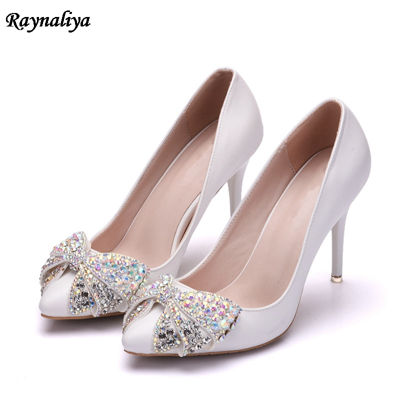 Pu Leather Women Pumps Sexy Pointed Toe Wedding Shoes Woman High Heels Dress Single Shoes Rhinestone Slip On Pumps XY-B0063