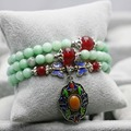 Novo Tailândia Buddha Sorte Beads Natural Pedra Azul Claro pedra jade Pulseira Corrente de Mão para Mulheres Meninas Acessórios Ladies