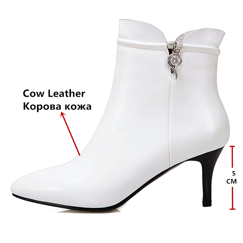 Botas de tobillo básicas para mujer tacones altos zapatos de boda de fiesta de diamantes de imitación Mujer con cremallera cálido otoño invierno botas cortas-in Botas hasta el tobillo from zapatos    3