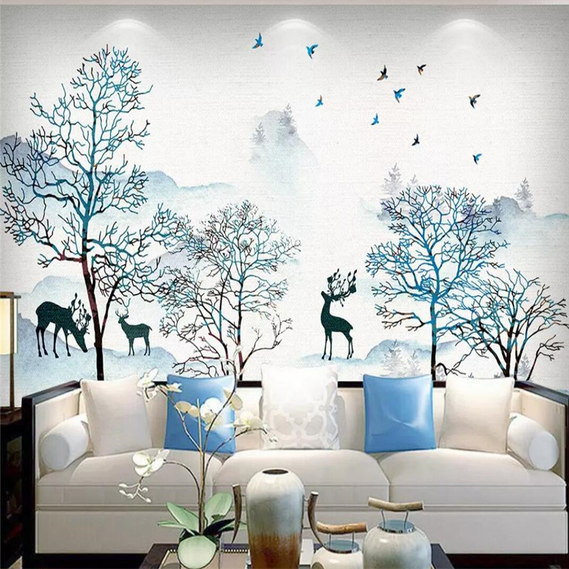 Ink landscapes fortune tree background wall decoration painting professional custom mural wallpaper custom poster photo wall in Fabric Textile Wallcoverings from Home Improvement