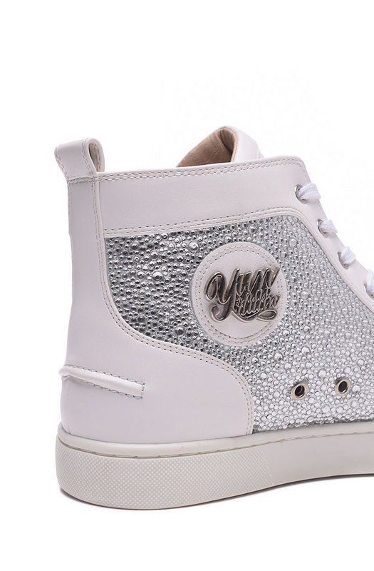 High Top Men Women Red Bottoms Shoes Fashion White Leather Bling Rhinestone Mens  Casual Shoes Women Breathable Sneaker Sale-in Men s Vulcanize Shoes from ... 787a19a670a8