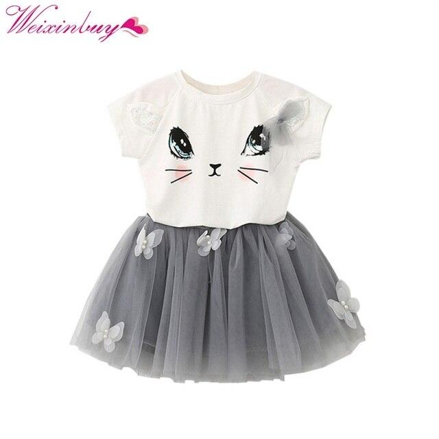8725ccb3e985 Kids Girls Summer Cute Cat T-Shirts+Net Veil Tutu Skirt Baby Girl s Short  Sleeve Cartoon Kitten Printed Girls Clothing 2Pcs Set