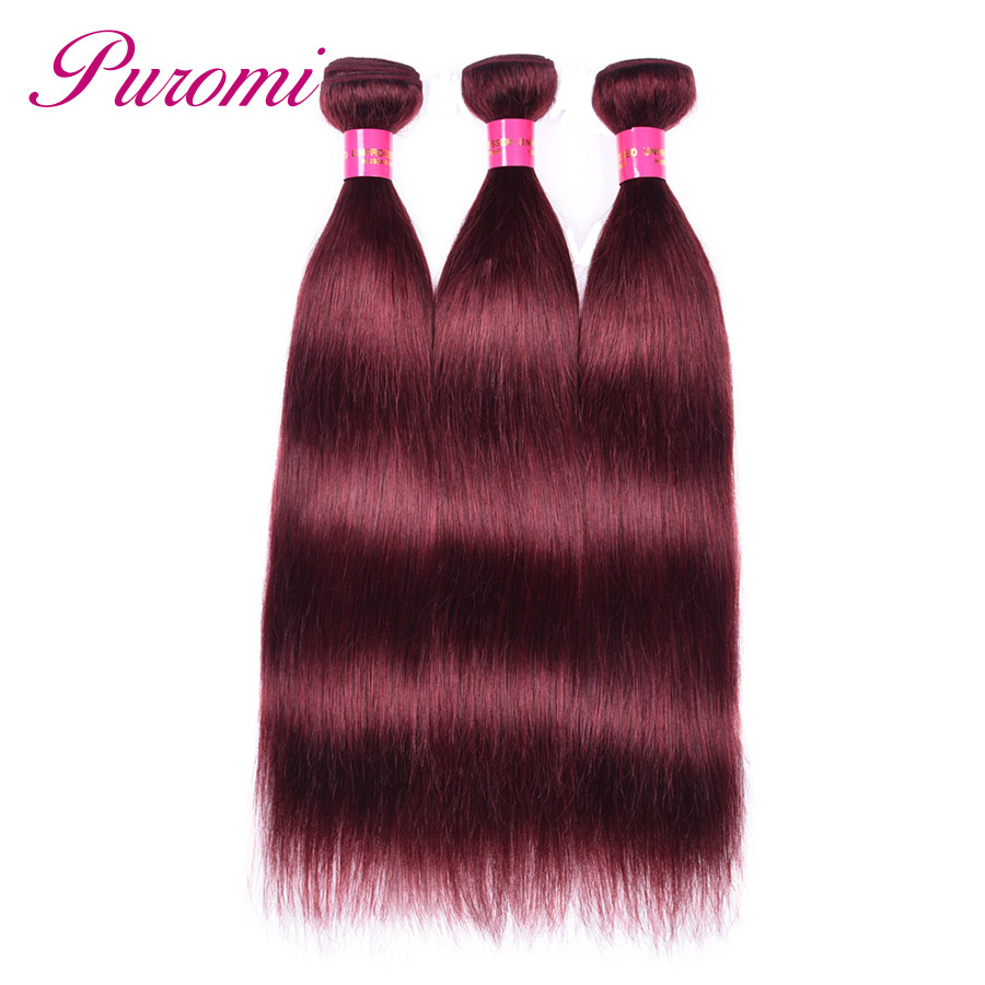 Puromi Hair Products 3 Bundles Straight Hair Brazilian Hair Weave Bundles 99j Hair Extension Non Remy Wine Red Weave