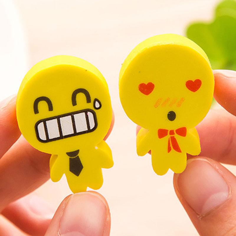 2pcs/lot Kawaii Little People Face Rubber Eraser Korean Creative Stationery School Office Supplies Papelaria Kids Gift
