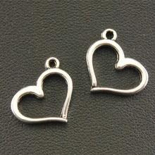 10 шт. античные серебряные Простые подвески в виде сердца, аксессуары для изготовления ювелирных изделий, браслетов и ожерелий 13x16 мм A1327