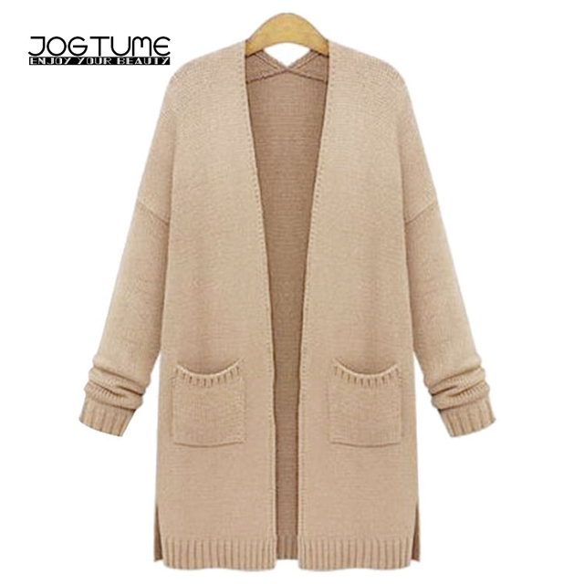 JOGTUME Knitted Long Coat 2017 Spring Autumn Womens Cardigan Sweater Coat  Long Sleeve Fashion Ladies Loose Casual Coat Plus 5XL d9a59fc39