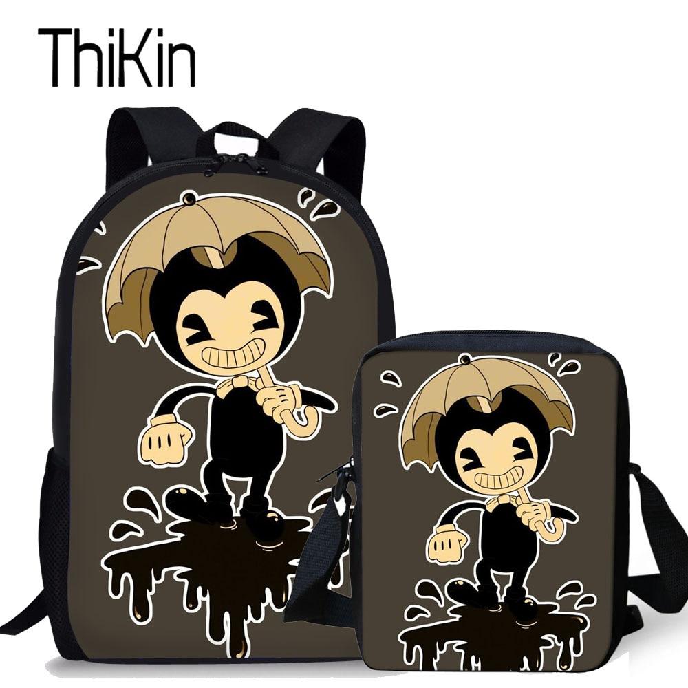 THIKIN Children School Bags for Kids Bendy and The Ink Machine Pattern Printing Schoolbag Backpacks Girls Shoulder Bags Satchel ...
