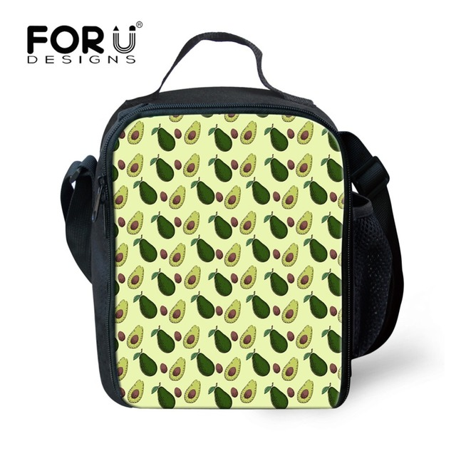 FORUDESIGNS Fresh Avocado Pattern Lunch Bag Portable Insulated Cooler Bags  Picnic Thermal Food Women Kid Harajuku Lancheira Tote 88f41d89737b0