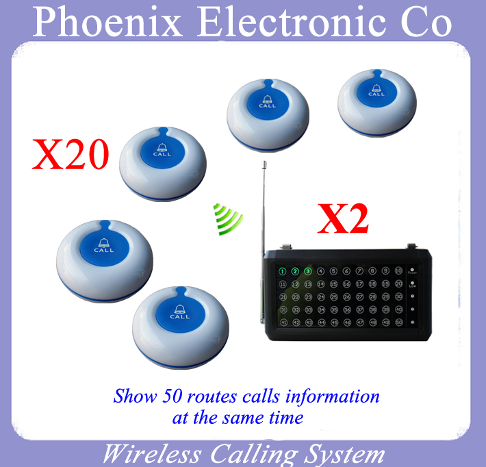 Restaurant Order System With Wireless electronic call bell,25 Button Buzzer and 2PCS P 20 Receiver
