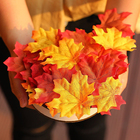 Home Decora 100 Pcs Assorted Mixed Fall Colored Artificial Maple Leaves for Weddings Events and Decorating
