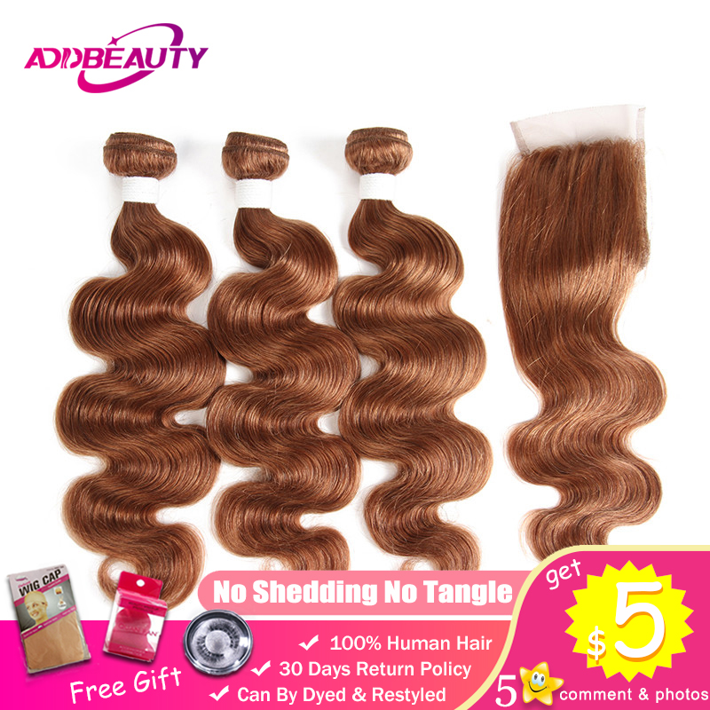 Human Hair Bundle With Closure 30 Color Honey Blonde Light Brown Pre-colored 4x4 Lace Brazilian Body Wave Remy Free Middle Part