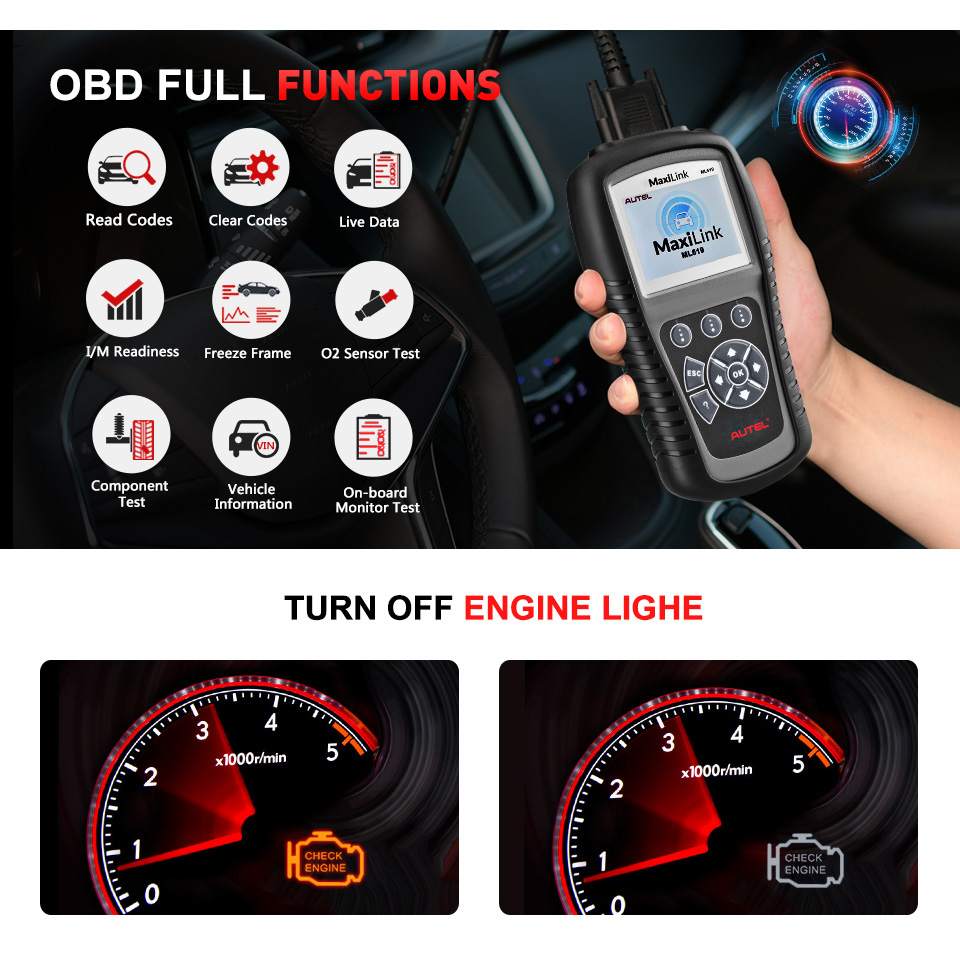 Image 2 - Autel MaxiLink ML619 OBDII OBD 2 Car Diagnostic Code Reader ABS SRS Airbag Scan Tools OBD2 Automotive Scanner as Autolink AL619-in Code Readers & Scan Tools from Automobiles & Motorcycles