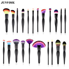 2pcs Maquiagem Makeup Brushes Set  Professional Black Wood Handle Brush Women Eyeshadow Cosmetic Tool Rainbow Nylon Hair Brushs