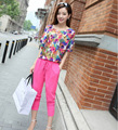 plus-size women's fat mm summer wear the new printing short sleeve T-shirt + 7 minutes of pants fashion leisure suit