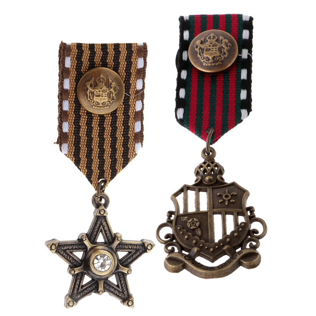 Phenovo 2pcs Mens Cosplay Party Medal Fancy Dress Costume American Navy Corsage Army Brooch with Vintage Steampunk Pendant belt