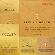 Hotselling Brand Unicorn hippocampus Palm  Gold Alloy Clavicle Chain Pendant Necklace New Jewelry For Women (Have Card)