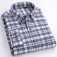 d75b27c6cf0 Для мужчин с длинными рукавами клетчатый плед Фланель рубашка с карманом  Slim-fit удобные мягкие