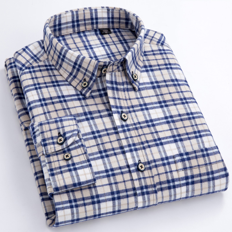Men's Long Sleeve Plaid Checked Flannel Shirt With Pocket Slim-fit Comfortable Soft 100% Cotton Smart Casual Button-down Shirts