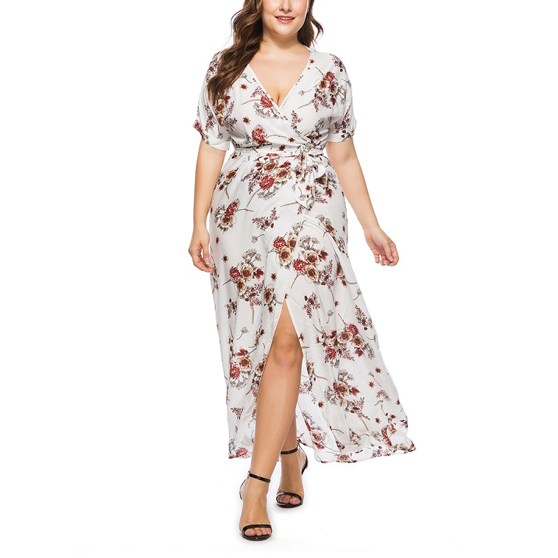 6xl <font><b>7xl</b></font> summer sexy v neck short sleeve split floral print maxi <font><b>dress</b></font> Women wrap <font><b>dress</b></font> <font><b>Plus</b></font> <font><b>Size</b></font> <font><b>Dresses</b></font> For Women 4XL 5XL 6XL image