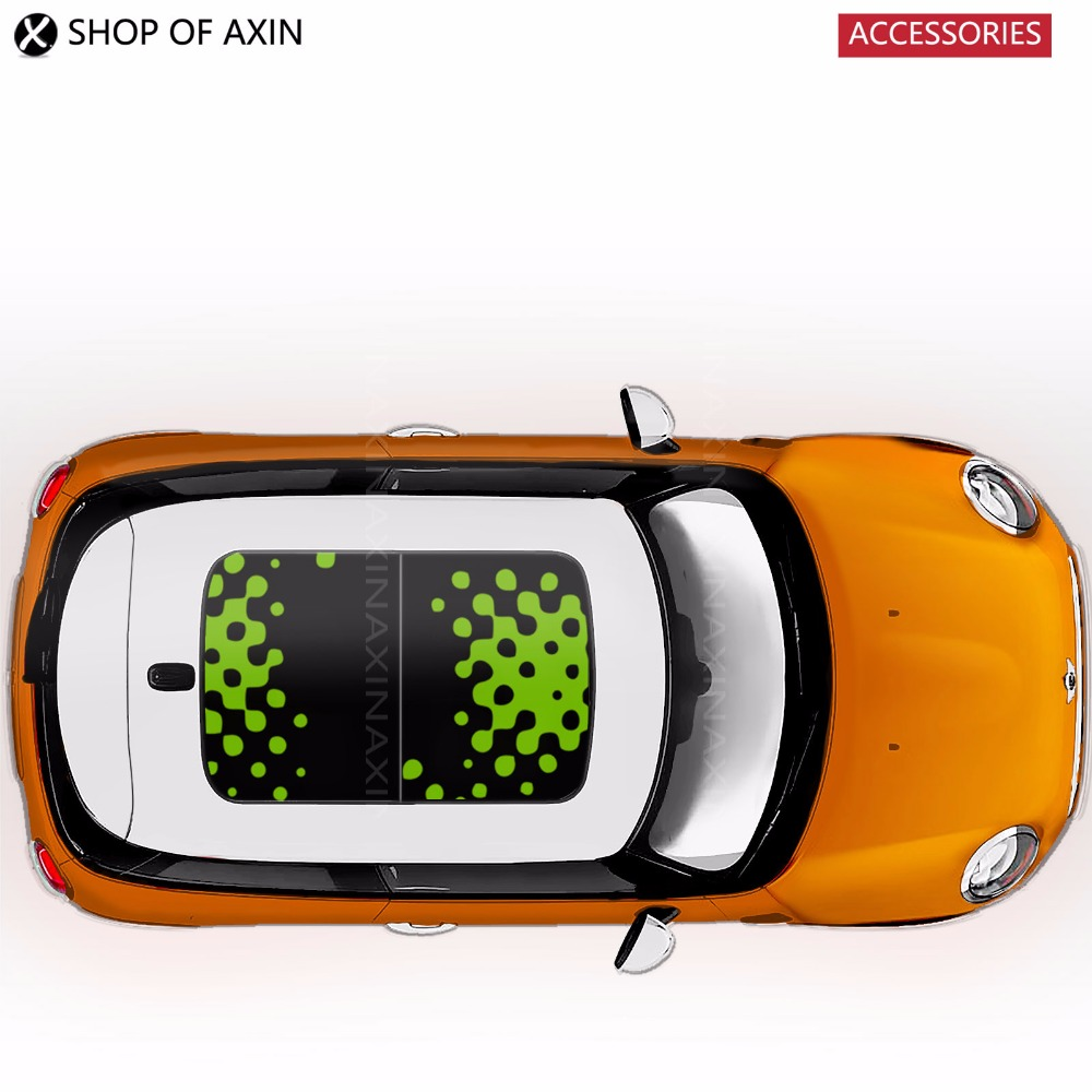 Sunroof Sticker Graphic sun roof VIVID GREEN For Mini Cooper clubman countryman hatchback R50 R53 R55 R56 R60 R61 F54 F55 F56 mini cooper f56 2014 exterior mirror caps vivid green covers