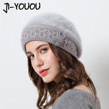d256690832dc3 2018 nuevo elegante de las mujeres sombrero del invierno para La chica de  arco otoño damas de moda femenina boina conejo pelo