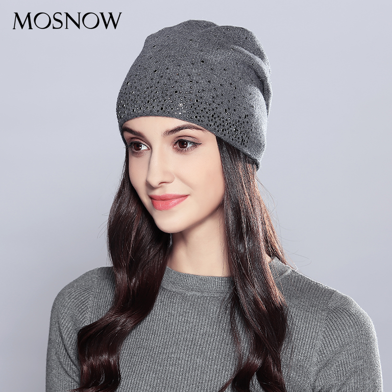 MOSNOW Woman Winter Hats Wool Rhinestones 2018 Double Layer Thick Fashion Autumn Knitted Hat Female Skullies Beanies Cap #MZ723