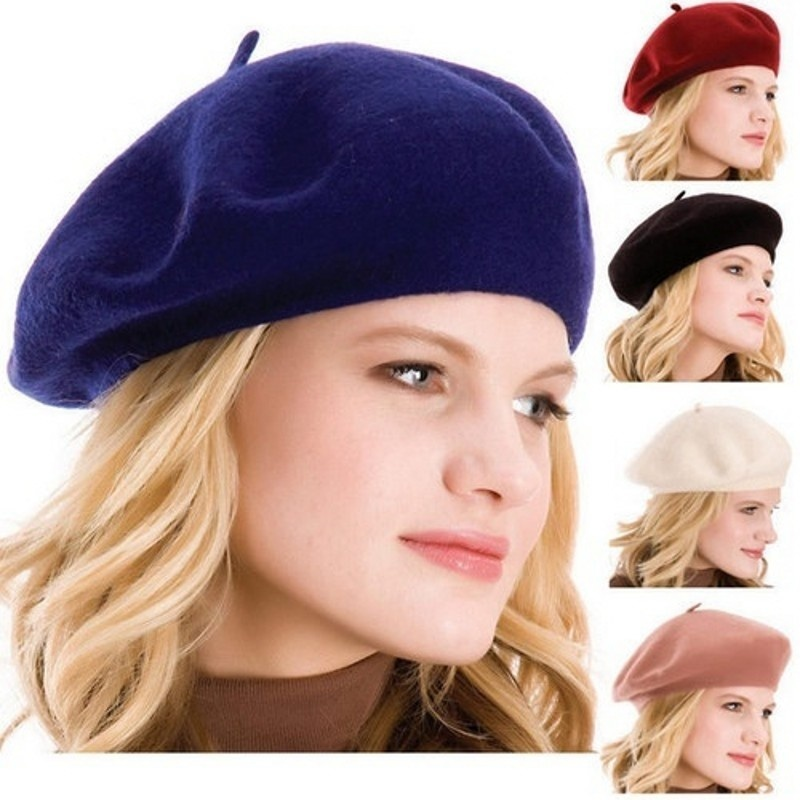 43ee946982f LASPERAL Fashion French Style Vintage Women Girls Wool Winter Warm Plain  Beret Beanie Black Hat Cap